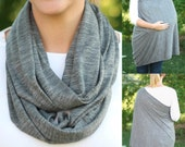 SALE Nursing Scarf /  New Heathered Gray Hold Me Close Nursing Scarf / SALE / Finished Edge, Nursing Cover, Infinity Scarf,