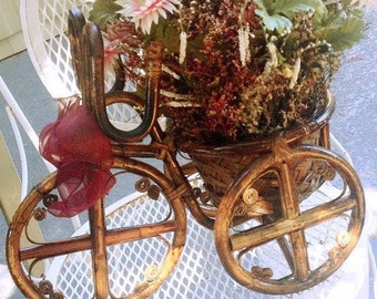 Vintage Rattan Tricycle Plant Stand, bicycle wood planter, decorative bike floral arrangement, wicker basket bicycle patio display #df71016e
