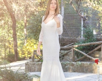 Ivory Bohemian Wedding Dress Beautiful Lace Wedding Long Gown Boho Gown Bridal  Sleeves Wedding Dress - Handmade by SuzannaM Designs