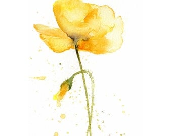 Yellow Poppy Watercolor Giclee Print - Small flower painting - French Country cottage decor - 4x6 wall art print, ready to frame, 5x7 mat