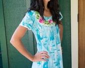 Resort Wear - Plus size Dress - Hawaiian Dress - Summer Beach Dress - Cotton Sundress - Beach Coverup - Island Wear - Hand Painted