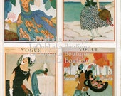 1921 Vogue Digital Collage Sheet Fashion Magazine Cover Print Set of 4 Downloadable Scrapbook Graphic Images Printable Couture Aceo Download