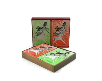 MCM Horse Playing Cards Vintage Double Deck of Playing Cards with Ponies
