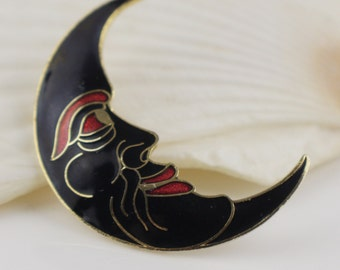 Man in the Moon Half Moon Cloisonne 1980s Ladies Brooch Gold Plated with Black and Red Enamel
