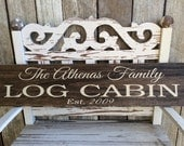 CUSTOM -STAINED- Log Cabin Sign (5.5in x 24in) - Home Decor - Perfect Gift