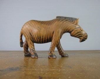 Vintage Hand Carved wooden Zebra / African / carved animal / primitive carving / tribal / *338