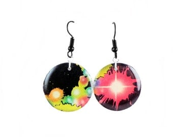 Galaxy comic book earrings- made from authentic comics!  (Certificate included.)