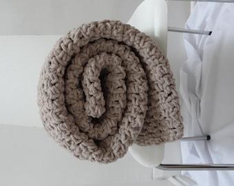 Sale Crochet Blanket - 25% Off - Crochet/Knit Chunky Blanket in Tan/Camel/Beige/Taupe - Ready to Ship