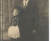 Antique Photograph of a Grandpa and a Very Little Girl