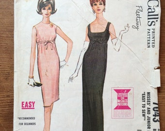 McCall's Fleetway vintage pattern 7043 dress 1960s Audrey Hepburn Breakfast At Tiffany's