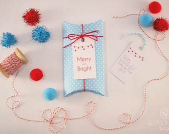 Christmas Tags: Set of 6 tags. Blue and Red gift tags.