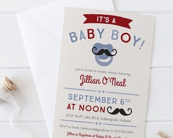 Mustache Pacifier Baby Boy- Baby Shower Invitation