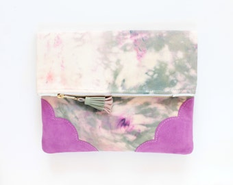 Dyed cotton clutch bag. Fold over clutch. Leather handbag. Statement purse. Hand colored. Suede natural leather. Purple handbag. /JOY 66