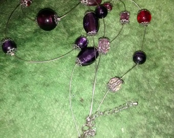 Glass Red Purple Double Wire Necklace