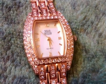 Nolan Miller Vintage Rhinestones Embellished Yellow Gold Plated Watch
