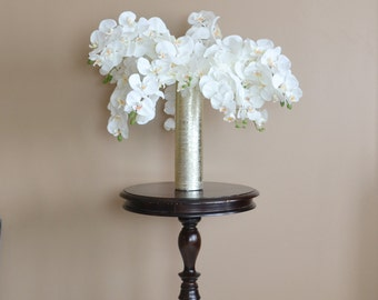 Silk Flower Arrangement With Vase Floral White Orchid Centerpiece