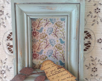 Antique Blue French Country Picture Frame w/Metal Bird on a Branch - 4 x 6 Cottage Shabby Chic Chunky