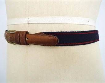 Vintage Coach Striped Belt / preppy navy blue & red wool fabric and brown leather belt / men's large-xl