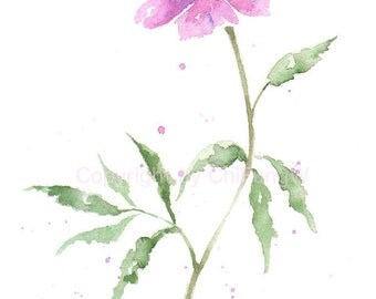 Fine art watercolor painting, bloom, blossom, flower art, abstract DAHLIA WATERCOLOR GICLEE, giclee print, flower interest