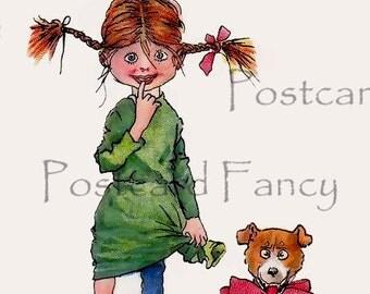 Vintage VALENTINE Buster Brown Postcard, little girl with dog, Instant DIGITAL Download