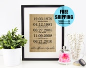 What a Difference a Day Makes Burlap Print | Personalized Family Name Sign | Important Dates Anniversary | House Warming Valentines Day Gift
