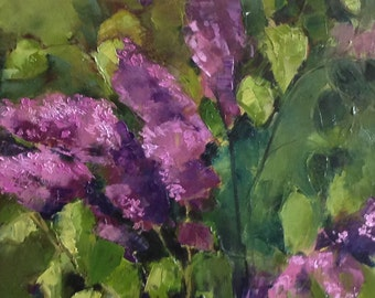 Lilac bush painting. Original oil painting with lilac flowers .Ready to ship.