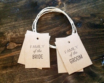 Reserved for Family Seating Tags - 2 Reserved for Bride's Family seating tags, 2 Reserved for Groom's Family seating tags