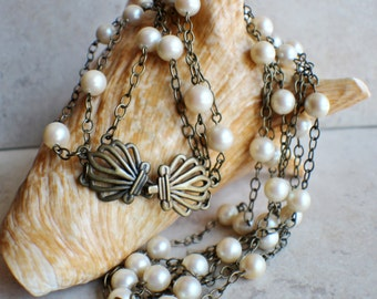 Pearl Necklace, Three strand glass pearl and chain necklace with antique brass clam clasp