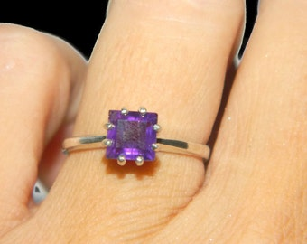 Natural Amethyst Ring, February Birthstone, Sterling Silver