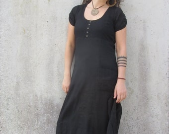 Black dress ~  Maxi dress ~ Double layer ~ Nuno felt edge