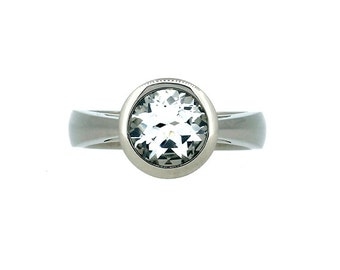 10% SALE  size 7 to 7.25, White topaz ring, white gold, engagement ring, bezel, topaz engagement, topaz, solitaire engagement, cathedral