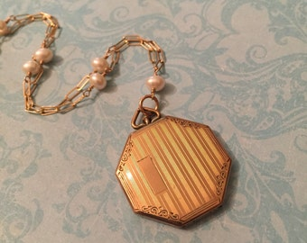 Vintage Octagon Locket, Striped Locket on Vintage Chain with White Pearls, Wedding Locket, Gift for Her