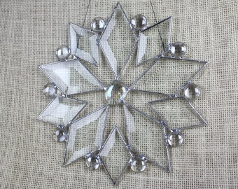 Stained Glass Beveled Snowflake Suncatcher Holiday Christmas Decor Star
