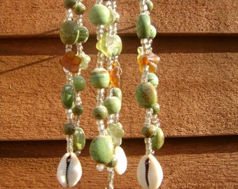 Windchime/suncather Green Beaded with Shells