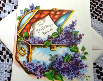 Vintage Happy Best Birthday Wishes Embossed Treasure Chest Lilac Flowers Greeting Card & Envelope 1940s 1950s Unused On Your Birthday USA