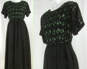 Vtg 60s Black Maxi with Sequin bodice over Green Dress  L