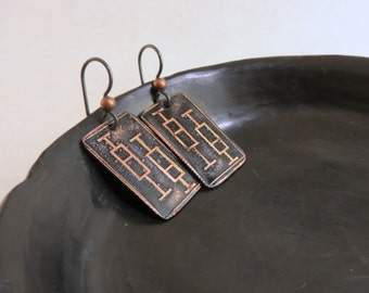 Box plot earrings, statistical jewelry, statistics, whisker plot earrings, gift for scientist, graduate student, etched (EBX4002)