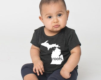 Michigan 'Roots' or 'Made' Tri Blend Baby T-Shirt - Infant Boy and Girl Tee