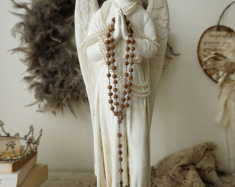 Winged angel statue French Nordic white distressed tall angelic figure w/ rusty handmade crown rosary shabby cottage chic anita spero design