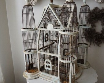 Ornate birdcage wood wire rusted painted shabby cottage chic rusty distressed huge bird cage with handmade crowns decor anita spero design