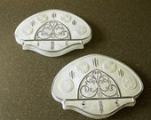 """Antique Art Deco Sconce Fixtures, Frosted Glass Slip Shades 11.5"""" L"""