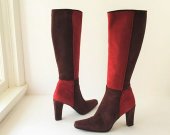 Vintage Color Block Suede Ladies Boots Stuart Weitzman Size 7 B All Leather Tall Calf Boots Boho Red and Burgundy 1990s Ladies Boots