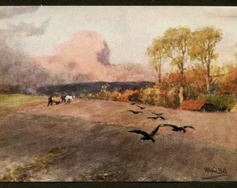 English Countryside Plowing Golden Fields with Horses and Crows - England Countryside Landscape Art - English Country Art Prints