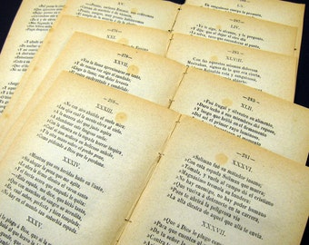 Spanish Book Pages - Spanish Poetry - 19th century - Canto - vintage spanish ephemera