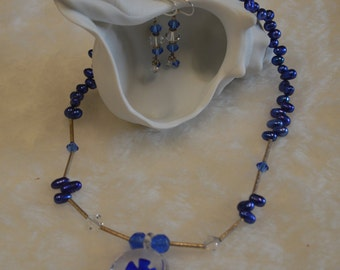 Blue Freshwater Pearl with Blown Glass Pendant Necklace Set