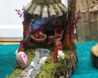 Fantasy Fairy House  Unique Natural Wood Fairy House