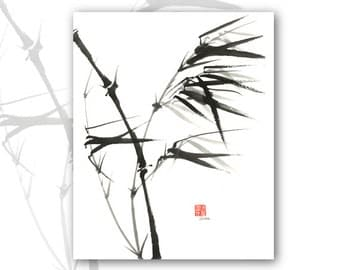 "8 x 10 Watercolor Chinese Brush Painting Print:""Bamboo"""