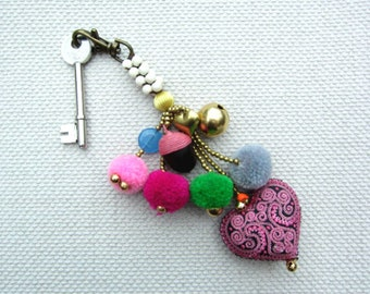 Pink Heart Pom Pom Keychain Tribal Embroidered Pink Heart Colorful Pom Poms Complete with Brass Beads, Charms and Genuine Colored Gemstones