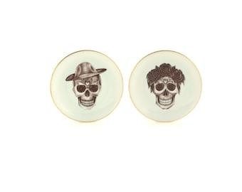 "2 Altered Plates Vintage Porcelain 7.48"" Sugar Skull Wedding Couple Bride Groom Anniversary Wedding  Decor Day of the Dead Mexico  Halloween"