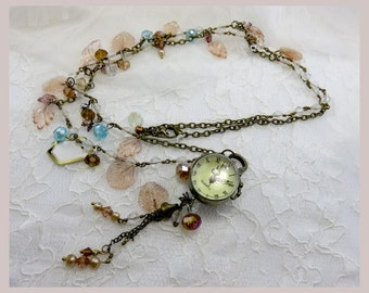 Necklace One of a Kind Gatsby era Art Nouveau style Steampunk /Goth Hand Beaded with working Digital Watch and faceted crystal beads